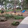 panorama with rocks and dragonfly sculpture and grasses and sandstone edging