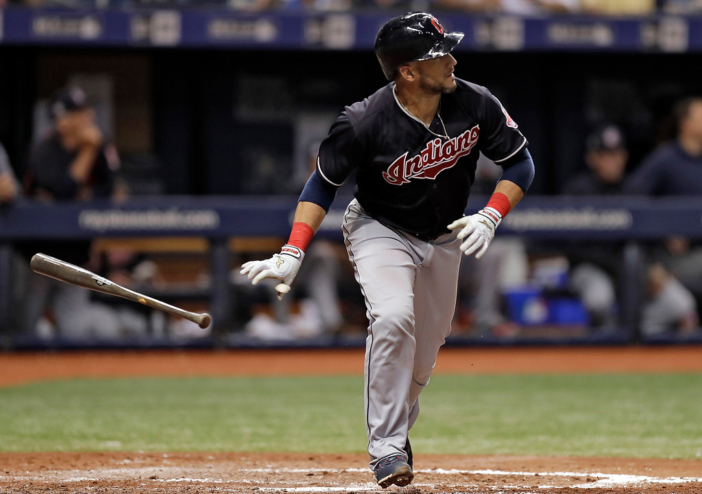 . Cleveland Indians\' Yan Gomes drops his bat as he watches his home run off Tampa Bay Rays pitcher Tyler Glasnow during the fifth inning of a baseball game, Tuesday, Sept. 11, 2018, in St. Petersburg, Fla. (AP Photo/Chris O\'Meara)