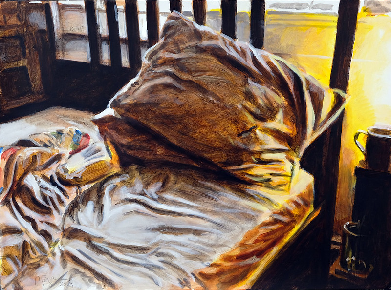 Bed with pillow, acrylic on paper, 22 x 30 in, 2019