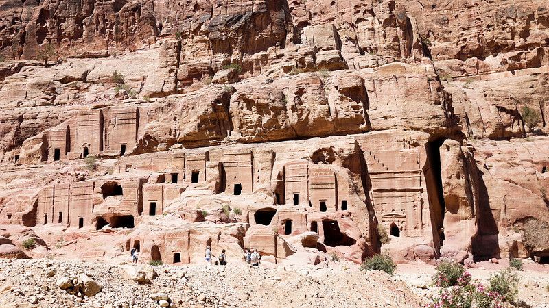 The intricate and still-standing red-rose city of Petra, Jordan.