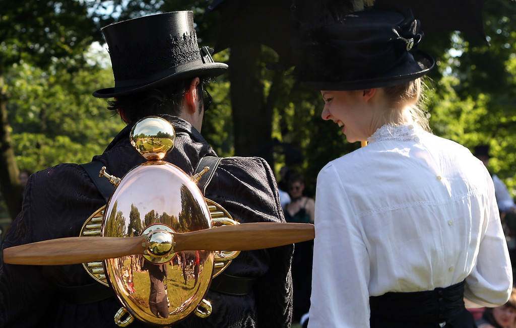 . A Steampunk enthusiast wears a propellor as he attends a Victorian picnic during the annual Wave-Gotik-Treffen music festival on June 6, 2014 in Leipzig, Germany.  (Photo by Adam Berry/Getty Images)