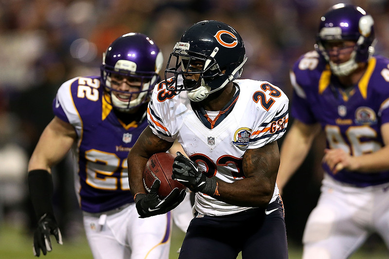 . Devin Hester #23 of the Chicago Bears returns a punt against the Minnesota Vikings at Mall of America Field on December 9, 2012 in Minneapolis, Minnesota.  (Photo by Matthew Stockman/Getty Images)