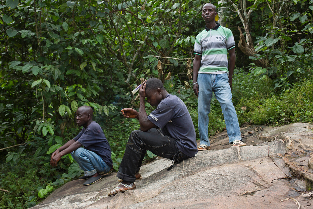 . In this photo taken Saturday Nov. 22, 2014, Etienne Ouamouno, center, Isaac Dembadouno, right, and village chief Amadou Kamano sit under a tree repeatedly smoked by villagers to catch bats  in the Guinean village of Meliandou, some 400 miles (600 kms) south-east of Conakry, Guinea, believed to be Ebola\'s ground zero. (AP Photo/Jerome Delay)