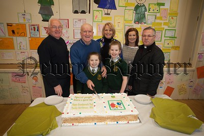 St Patrick's PS Newry celebrated Grandparents day recently. Pictured are Paddy McCamley, Gerald McGranaghan, Jane McGranaghan, Cara and Maria McCamley, Laura McCaul and Fr Tony Corr. R1604001