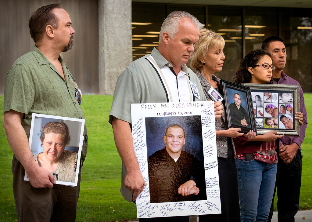 . Family members from left: Eric Andrist, Tim and Tammy Smick and Alejandrea Gonzalez and Miguel Chavez wait to speak at a Consumer Watchdog press conference announcing the gathering 840,00 signatures to qualify the placement of The Troy And Alana Pack Patient Safety Act instituting doctor drug testing on November ballot at the Los Angeles County Recorder\'s Office in Norwalk, Calif. March 24, 2014.   (Staff photo by Leo Jarzomb/San Gabriel Valley Tribune)