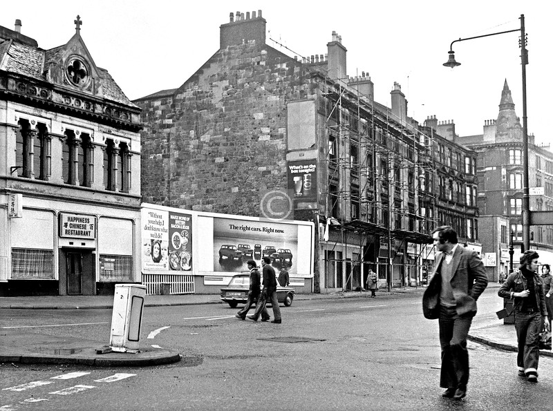 Similar view, a couple of years later. Since the tenement block was about to come down I thought it was worth another shot or two.    March 1976