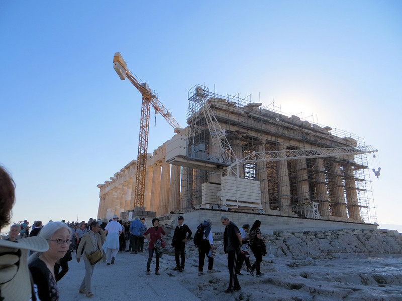 The west side of the Parthenon, which you see as you enter.  Currently this is the location of the most intensive restoration work.  The restorers were determined to do this right, no matter how long it takes or how much it costs.  The first step was to find and catalog every single stone of the Parthenon, whether lying around on the ground or in museums somewhere.  Then they began to put it together like a huge jigsaw puzzle.  To supplement the original pieces, they have quarried marble from the same quarries that the original stones came from.