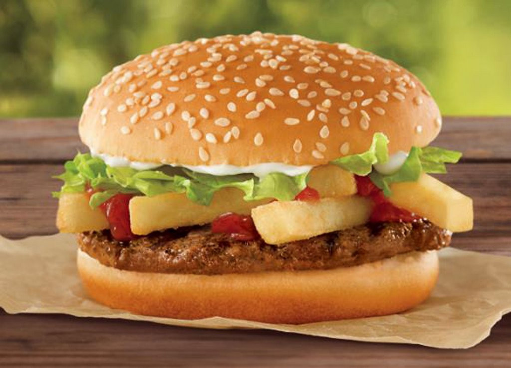 ". <p>10. (tie) BURGER KING <p>Unveils new sandwich for folks too lazy to put on their own french fries. (unranked) <p><b><a href=\'http://www.twincities.com/life/ci_23953252/burger-king-offer-french-fry-burger-1\' target=""_blank\""> HUH?</a></b> <p>    (AP Photo/Burger King)"