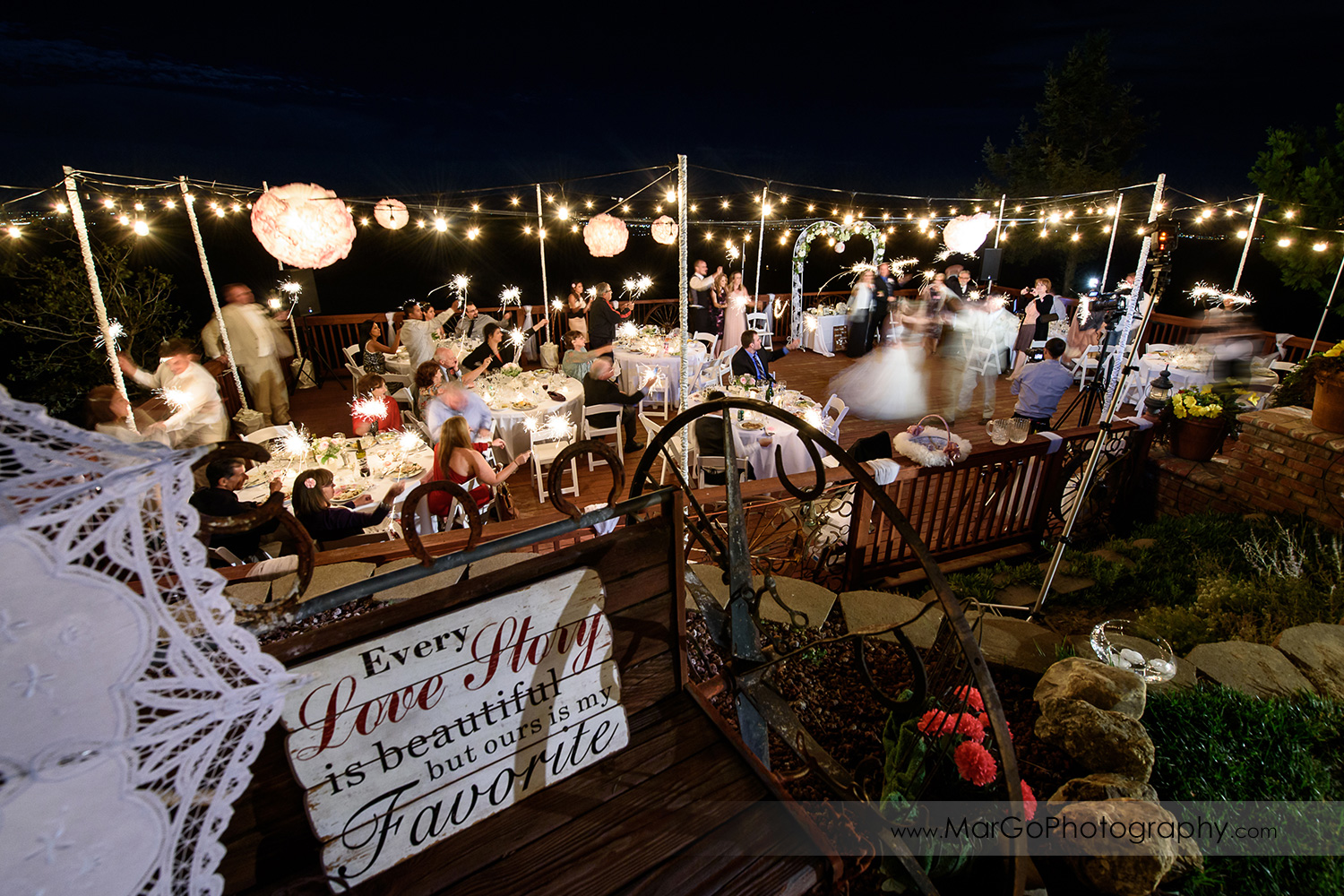 wide view of backyard wedding reception with bride and groom dancing and guests holding sparklers