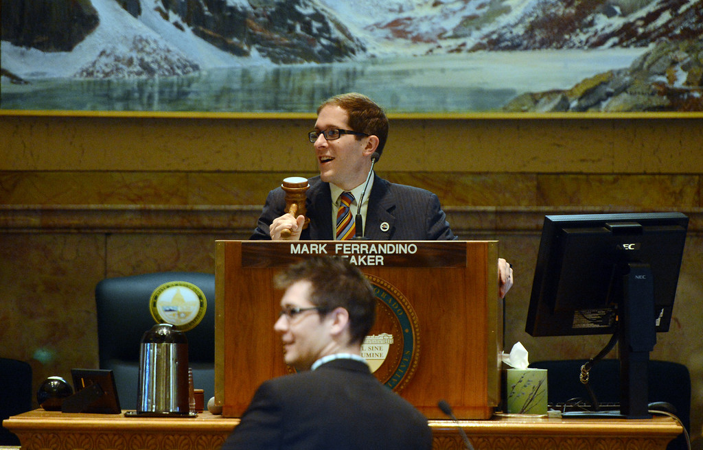 . House Speaker Mark Ferrandino, D-Denver, calls the house to order before a vote on civil union at the state capitol in Denver, CO March 12, 2013.  (Photo By Craig F. Walker/The Denver Post)