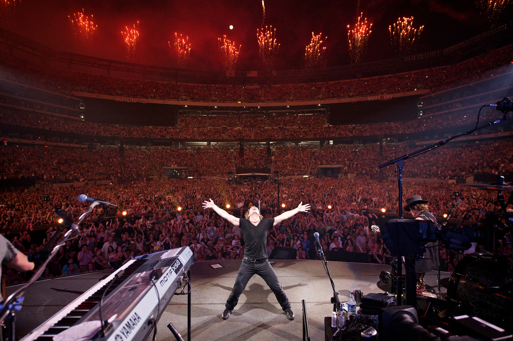 . May 26, 2010 - Jon Bon Jovi performs on stage with his band, Bon Jovi, during the Grand Opening of the New Meadowlands Stadium in East Rutherford, NJ on May 26, 2010.  (Photo credit: David Bergman / Bon Jovi)