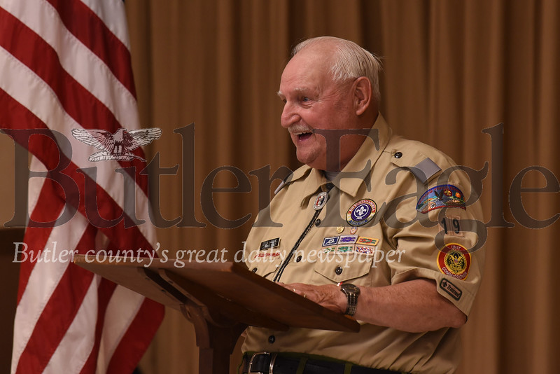 Gordon Payung, 82, tells active and former scouts stories from his days in Boy Scout Troup 19. The troop celebrated its 100th anniversary Saturday. Seb Foltz/Butler Eagle