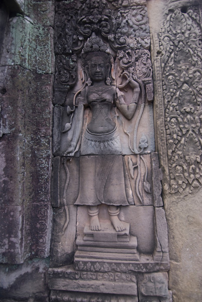 Details of Bas Relief inside Bayon Temple in Cambodia