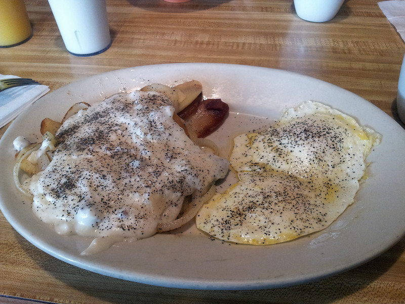 Two Eggs Over Medium with Home Fries and Gravy