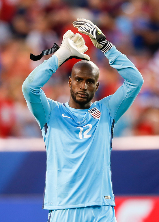 . United States goalkeeper Bill Hamid (12) celebrates a victory over Nicaragua in a CONCACAF Gold Cup soccer match in Cleveland, Ohio, Saturday, July 15, 2017. (AP Photo/Ron Schwane)