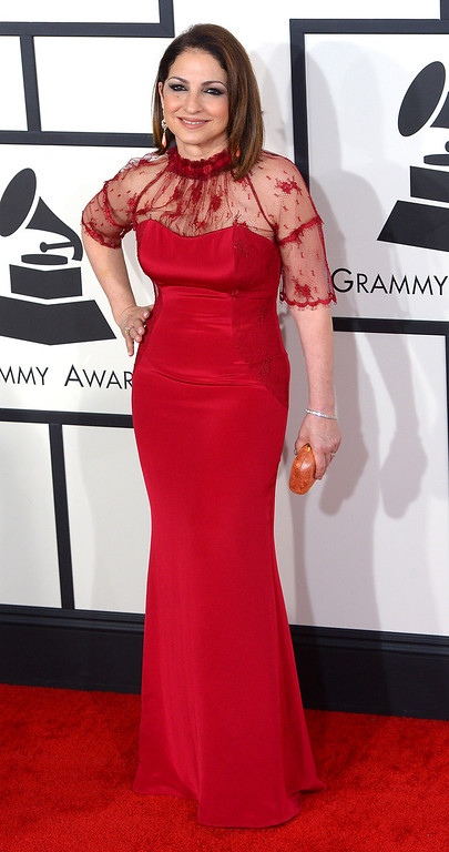 . Gloria Estefan arrives at the 56th Annual GRAMMY Awards at Staples Center in Los Angeles, California on Sunday January 26, 2014 (Photo by David Crane / Los Angeles Daily News)