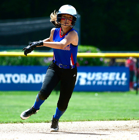 7/25/2018 Mike Orazzi | Staff Rhode Island's Samantha Healy (2) during a win over Delaware at Breen Field in Bristol Tuesday afternoon.