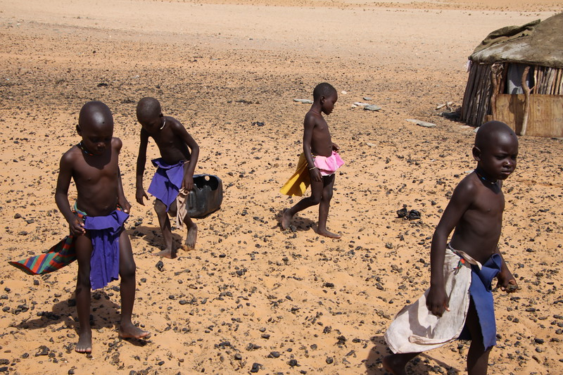 Himba children picking up dung for fire