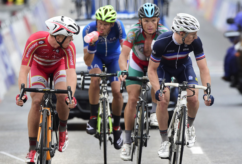 . France\'s Cyril Gautier (R), Italy\'s Alessandro De Marchi (2nd L) and Belarus\' Vasil Kiryienka (2nd R) ride during the men\'s road race at the 2014 UCI Road World Championships in Ponferrada on September 28, 2014.  JAVIER SORIANO/AFP/Getty Images
