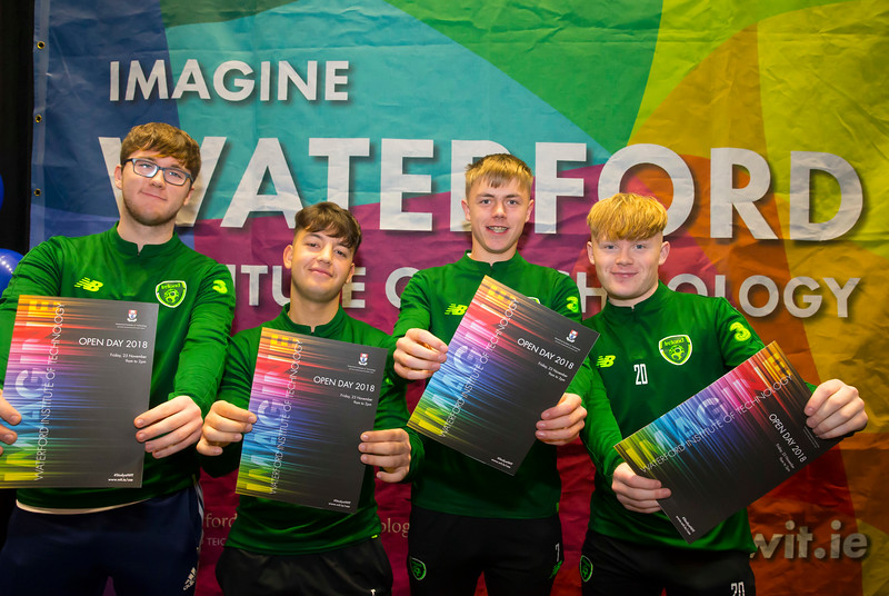FREE TO USE IMAGE. Pictured at WIT's Autumn Open Days in the WIT Arena are Leon Nolan, Perparim Gashi, Jak Hays and Darragh Wall. Picture: Patrick Browne  WIT's Autumn Open Days in the WIT Arena were on Friday, 23 November and Saturday, 24 November 2018. The Schools Open Day on Friday attracted thousands of secondary school students.  The event focused on undergraduate entry for September 2019 but also showcases the opportunities for postgraduate learning and research and flexible study through our School of Lifelong Learning & Education.  The institute has 70 CAO courses across a range of discipines including,business,engineering and architecture, sports and nursing, law, social sciences, arts and psychology, the creative & performing arts, languages, tourism and hospitality, science and computing.   WIT's Autumn Open Days included presentations on all CAO courses, including new courses for 2019, as well as the opportunity to experience what it would be like to study on those courses and talk to lecturers directly.