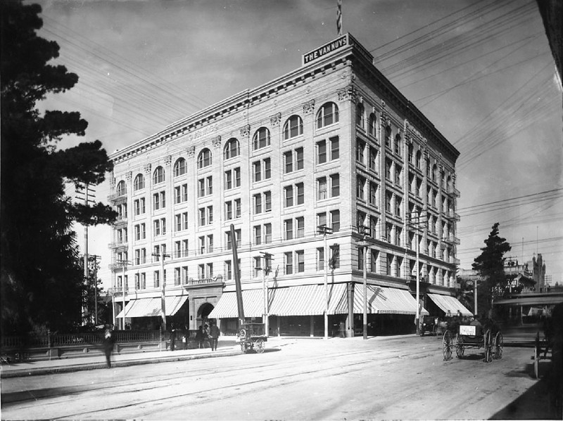 Exterior of the Van Nuys Hotel, looking north on Main Street at 4th Street, Los Angeles, ca.1895