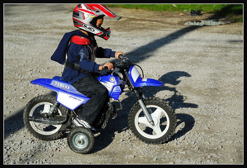 Next year no training wheels. This kids gonna ride fast and hard