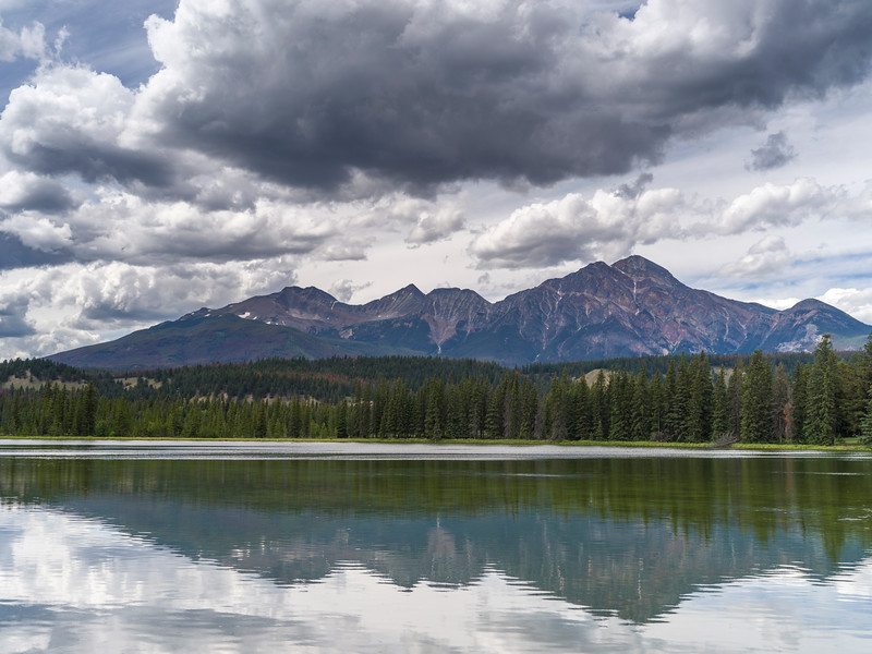 Reflection of mountains in lake, Icefields Parkway, Jasper, Alberta, Canada