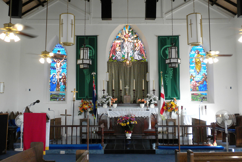 Beautiful stain glass windows and chapel in St Mary's Anglican Pro-Cathedral Church in Cockburn Town, Grand Turk