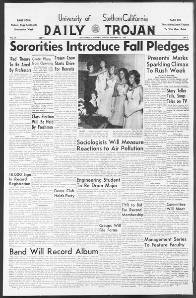 Daily Trojan, Vol. 54, No. 2, September 25, 1962