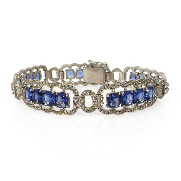 Antique German Art Deco Silver Sapphire Blue Paste Bracelet