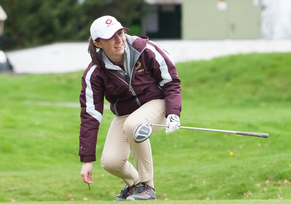 04/30/18 Wesley Bunnell | Staff Newington girls golf vs New Britain on Monday afternoon at Indian Hill Golf Club in Newington. New Britain's Cate Keithline on the first tee.