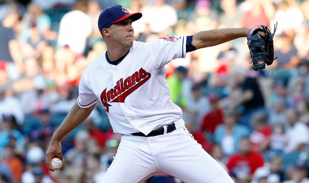 . Indians starter Ubaldo Jimenez delivers against the  Twins during the first inning of their game.   (Photo by David Maxwell/Getty Images)