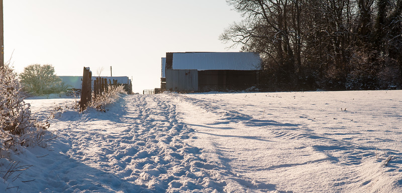Snow-covered farm track in Dorset