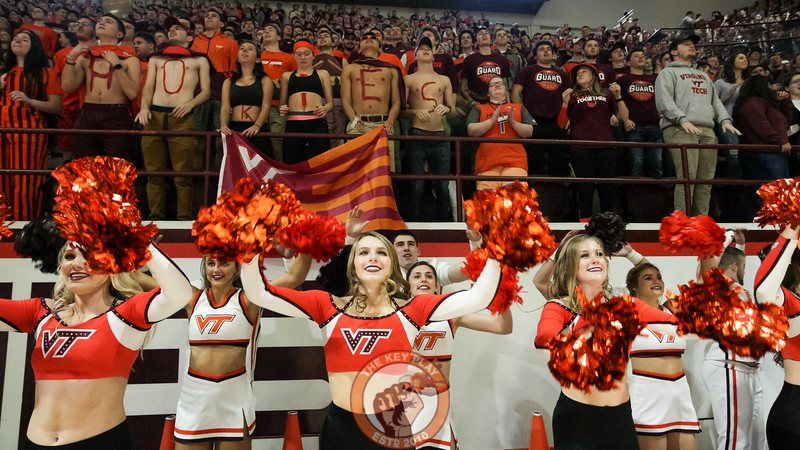 The Virginia Tech spirit squads jump to Enter Sandman in front of the student section right before tipoff. (Mark Umansky/TheKeyPlay.com)