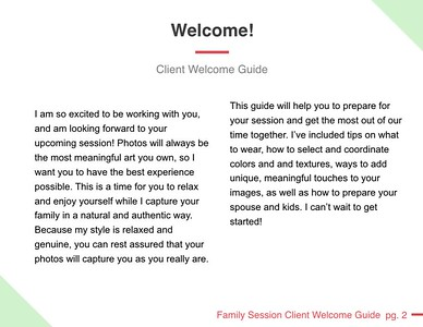 family session client welcome guide