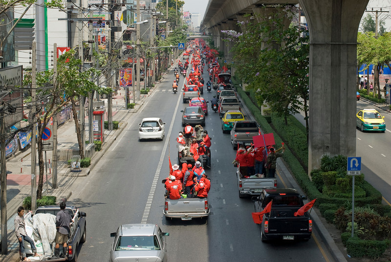 Busy street filled with Red Shirt protesters - Thailand