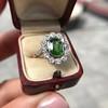 4.38ctw Art Deco Russian Demantoid & Diamond Cluster Ring 9