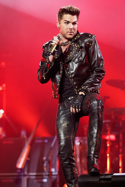 . Adam Lambert performs with Queen at The Palace on 7-12-14. Photo by Ken Settle