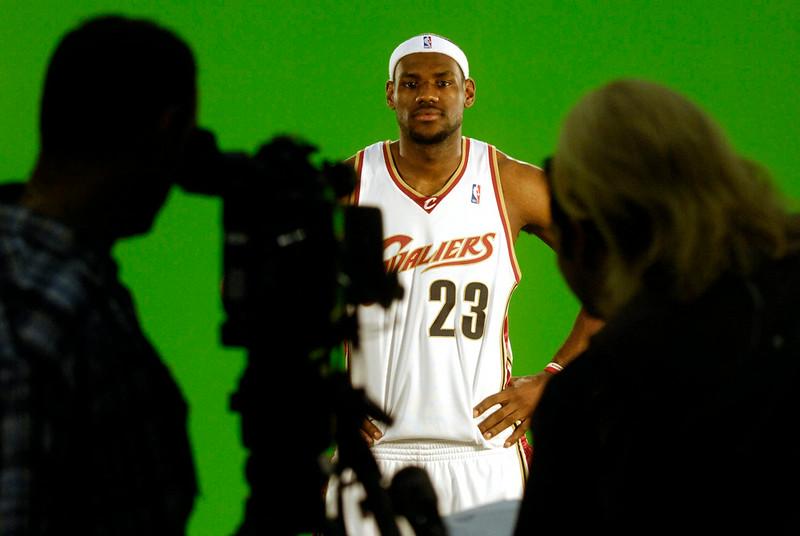 . Ken Blaze/KBlaze@News-Herald.com Lebron James films a spot for TNT during Cavs media day Monday at Quicken Loans Arena