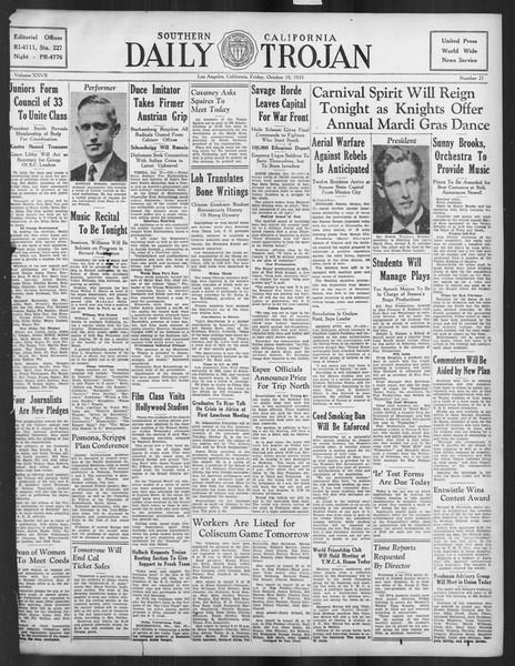 Daily Trojan, Vol. 27, No. 21, October 18, 1935