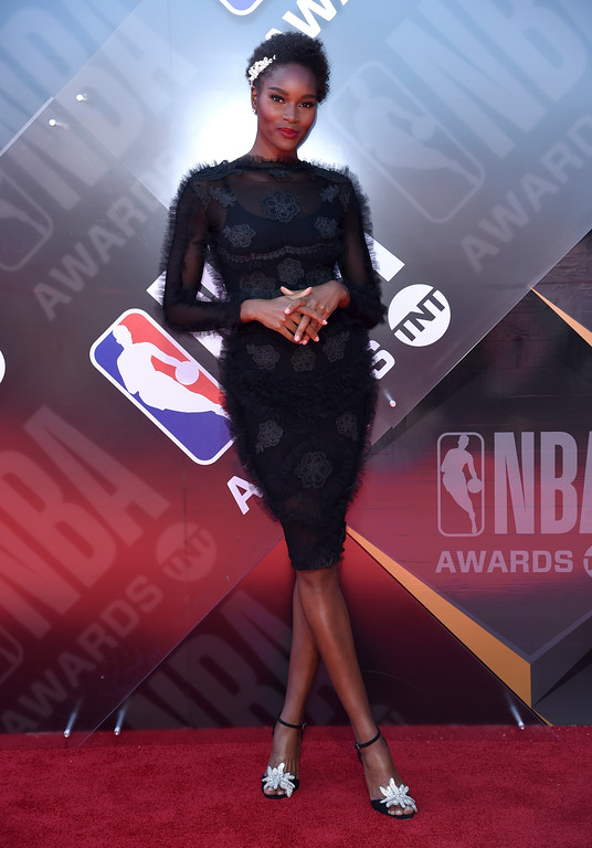 . Damaris Lewis arrives at the NBA Awards on Monday, June 25, 2018, at the Barker Hangar in Santa Monica, Calif. (Photo by Richard Shotwell/Invision/AP)