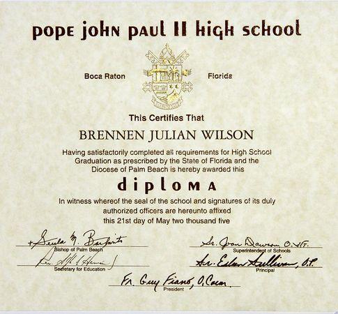 Pope John Paul II High School Graduation Exercises @ Noon  May 21 2005