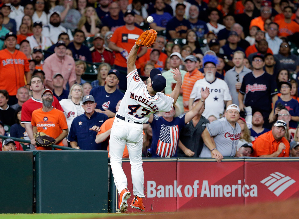 . Houston Astros starting pitcher Lance McCullers Jr. (43) makes the infield catch on the pop up by Cleveland Indians Jose Ramirez during the fourth inning of a baseball game Sunday, May 20, 2018, in Houston. (AP Photo/Michael Wyke)