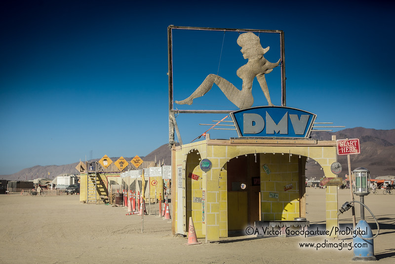 All vehicles that drive on the playa or within Black Rock City must pass an inspection by the DMV (Department of Mutant Vehicles). This is a serious inspection to prevent injuries and accidents.