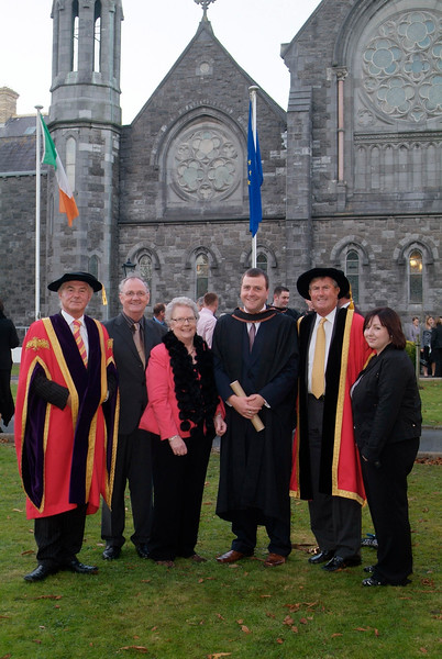 Karol Fitzpatrick of Cluain-a-Laoi, Waterford was conferred with BSc (Hons) in Construction Management and Engineering at Waterford institute of Technology, pictured with from left: Prof. Kieran R. Byrne, Director, WIT; Bill Fitzpatrick (father); Betty Fitzpatrick (mother); Redmond O'Donoghue, Chairman, WIT and Nora Devern (Karol's Fiancee). (pic-photozone)