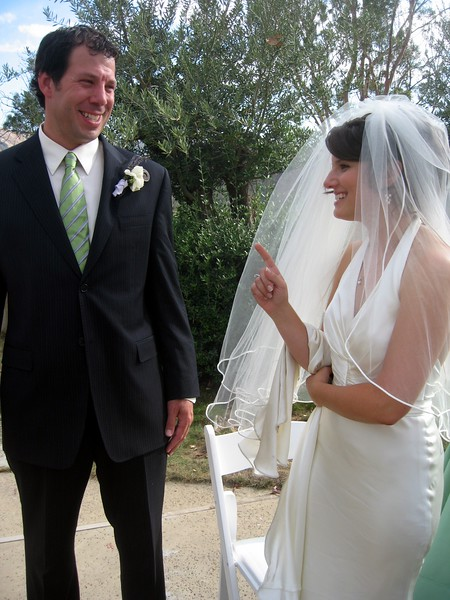 The newlyweds share a laugh