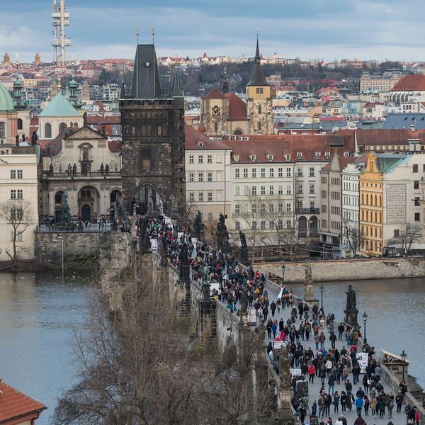 Tourists walking on Charles Bridge, Prague, Czech Republic