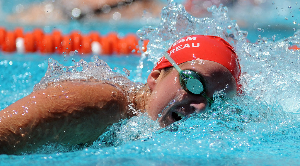 . Glendora\'s Nicole Gautreau wins the 500 freestyle during the CIF-SS Division II swim finals at Riverside City College on Saturday, May 11, 2013 in Riverside, Calif.  (Keith Birmingham Pasadena Star-News)