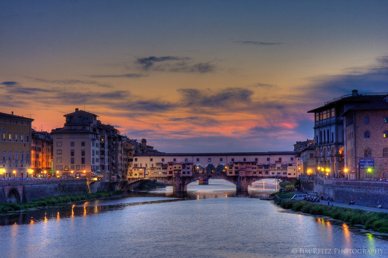 The Ponte Vecchio bridge at sunset, Florence
