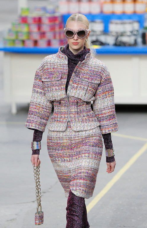 . A model wears a creation for Chanel\'s ready to wear fall/winter 2014-2015 fashion collection presented in Paris, Tuesday, March 4, 2014. (AP Photo/Jacques Brinon)
